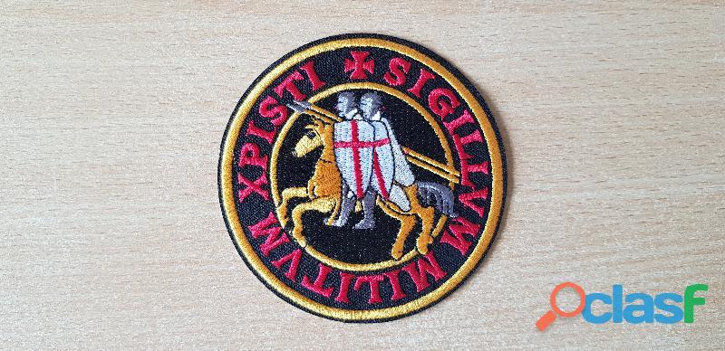 Ecusson brodé emblème des templiers diam 10 cm sceau des templiers de 1120 thermocollant
