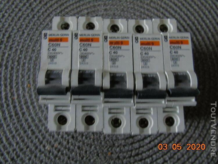 Lot de 5 disjoncteurs c60n - c40