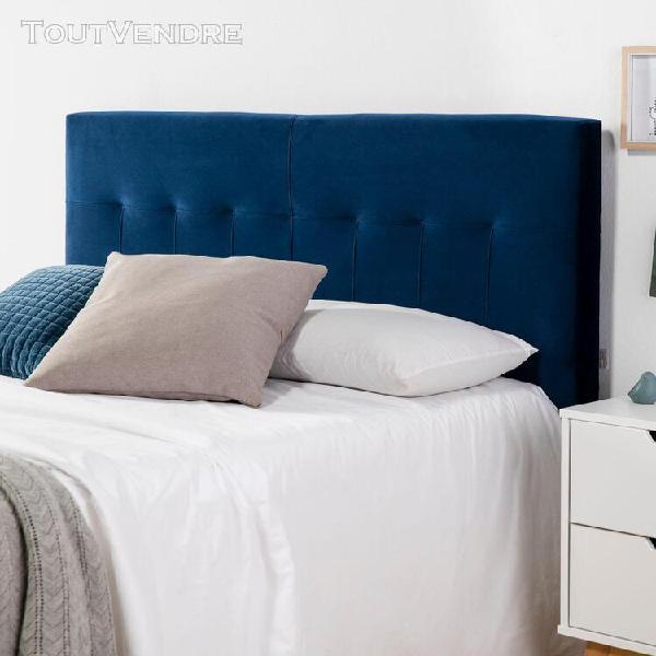 Tête de lit napoles 160x100 bleu en velours