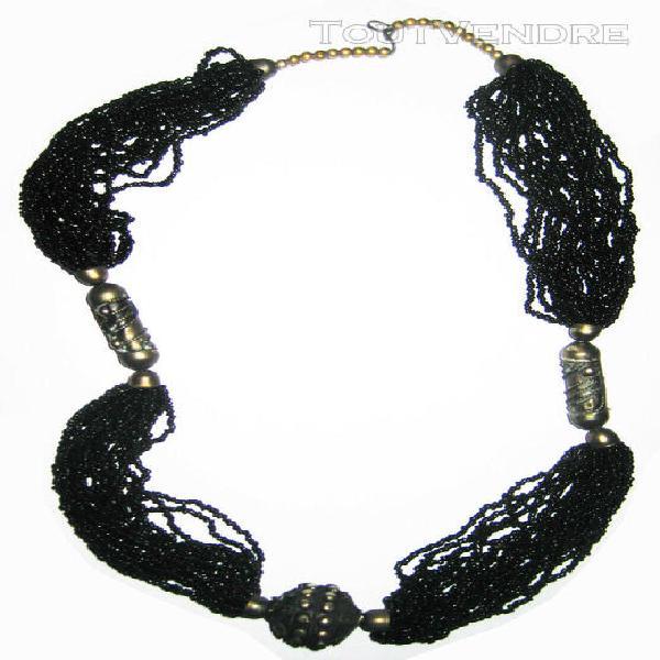 Collier ethnique artisanal perles de verre et metal 74cm