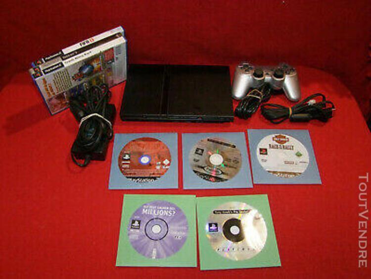 Console playstation 2 slim ps2 + 8 jeux + 1 manette + 2 cm