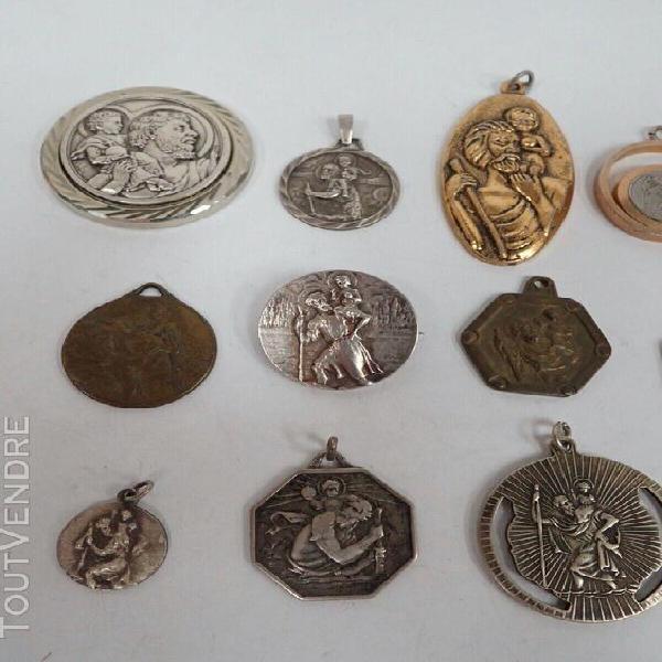 Lot 14 médailles anciennes de saint christophe / broche