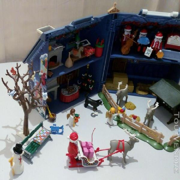 Lot playmobil coffret maison de noel- traineau- rennes- chor
