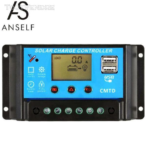 Anself 10a 12v / 24v lcd contrôleur de charge solaire avec