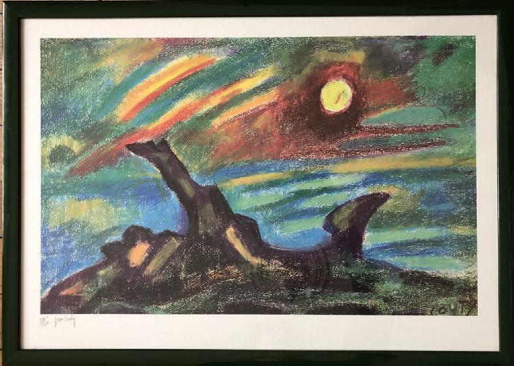 Paysage au soleil couchant - jean couty - lithographie