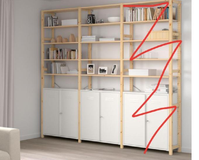 2 étagères bibliothèque modulable pin métal blanc ikea
