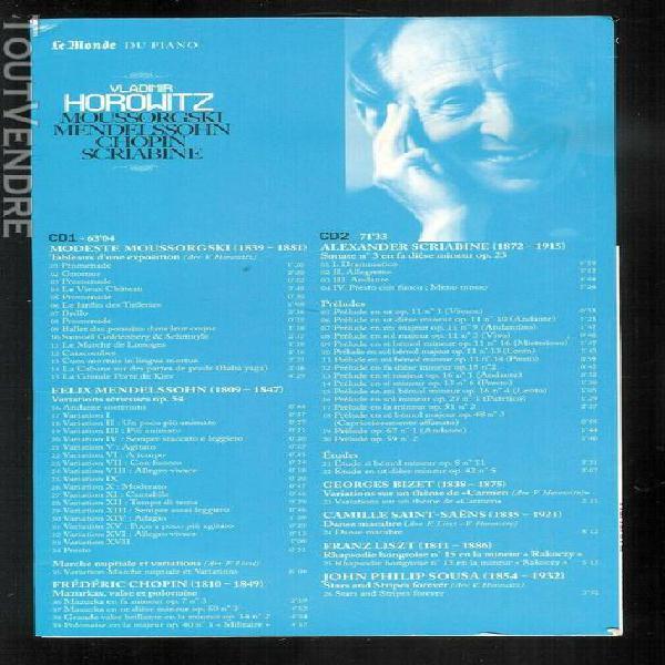 Double cd + livret - vladimir horowitz: moussorgski - mende