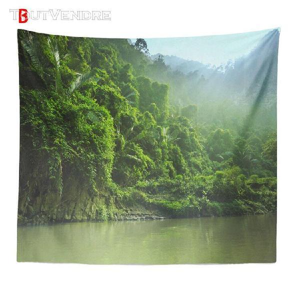 Tapisserie forestière brumeuse tenture murale nature