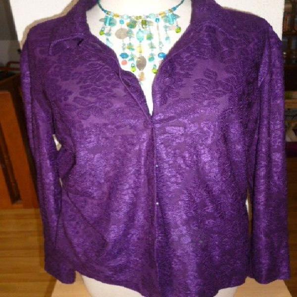 Vintage femme chemise/chemisier violet taille 42 occasion,