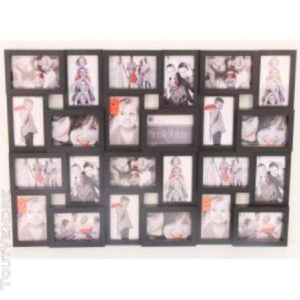 Cadre photo pêle-mêle mural noir - 24 photos standards