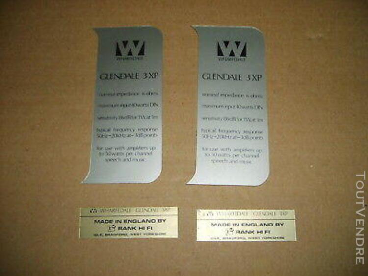 Lot d'étiquettes pour 2 enceintes wharfedale glendale 3xp