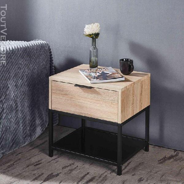 Chevet en bois avec structure en métal - ch9003