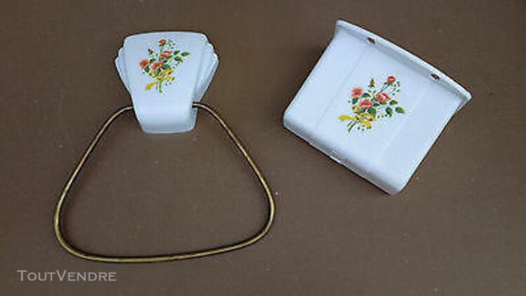 Porte serviette dévidoir papier wc pola vintage fleurs