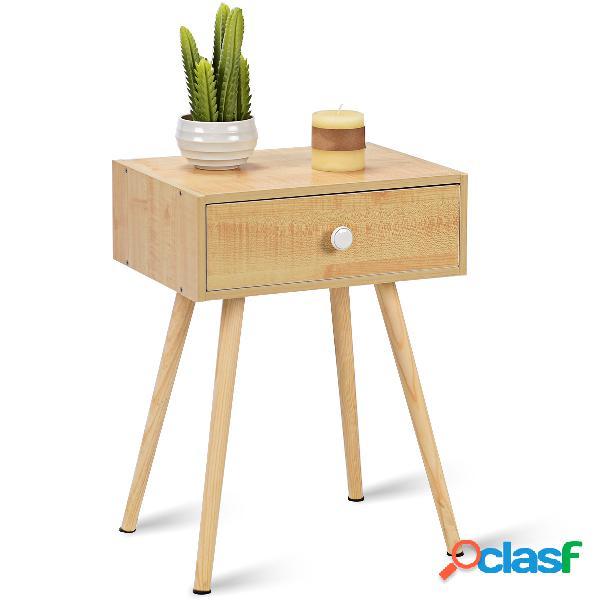 Table de chevet en bois scandinave laqué satiné 40*30*60.5cm avec 1 tiroir coloris nature-s
