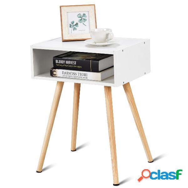 Table de chevet en bois scandinave laqué satiné avec tiroir coloris blanc