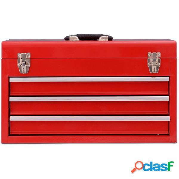 Costway boite à outils cabinet coffre à 3 tiroirs malette à outils complète bricolage mecanique pour réparations quotidiennes rouge