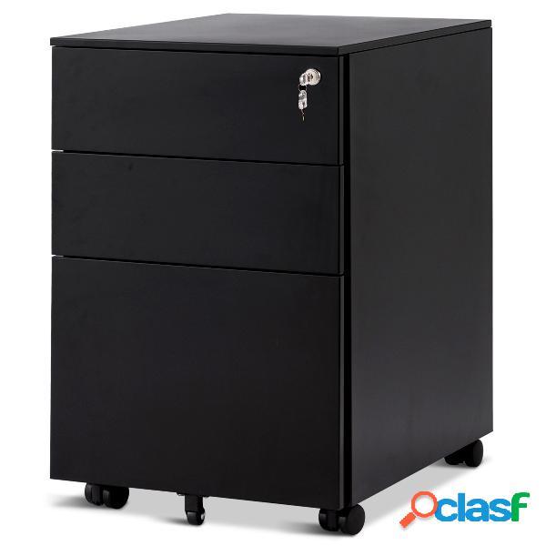 Costway caisson de bureau armoire de rangement à roulettes 39 x 48 x 60 cm blanc
