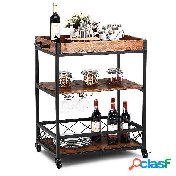 Costway desserte/chariot de cuisine à roulettes en bois+fer 78 x 46 x 82 5cm brun foncé