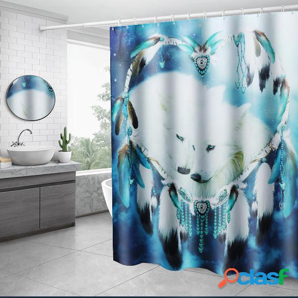 Blanc wolf dream catcher rideau de douche salle de bains couvercle tapis de toilette couverture tapis de bain