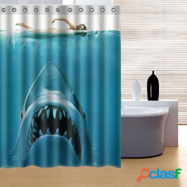 150x180cm shaw underwater jaws theme polyester rideau de douche imperméable au bain avec crochets