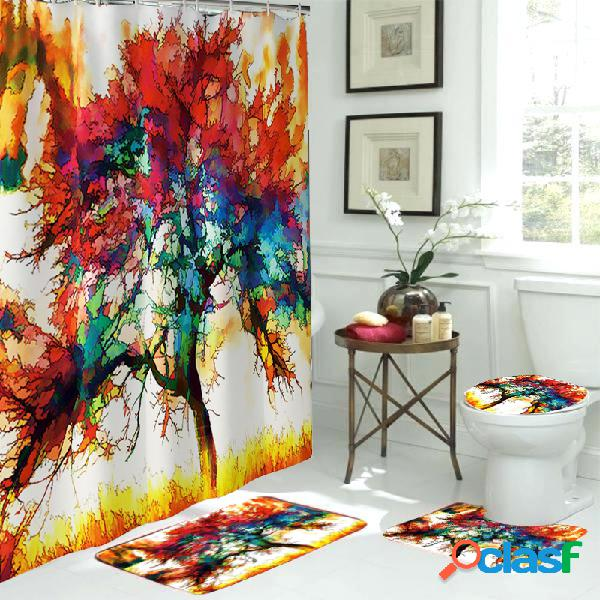 3pcs tapis de salle de bains rideau de douche tapis de bain décoration de bain étanche