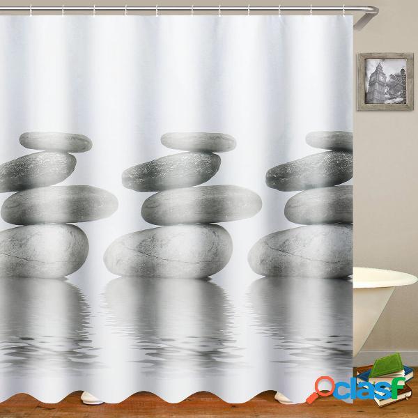 """71x71 """"rideau de douche imperméable à l'eau de galets en pierre grise décor de salle de bain avec crochets"""