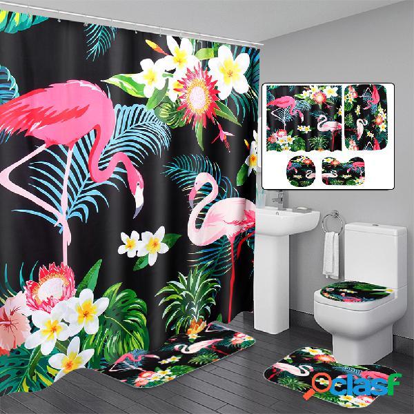 Ensemble de tapis de salle de bains 3 pcs pour rideaux de douche avec couvercles de toilettes en tissu de polyester