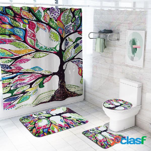 Motif d'arbre imprime rideau de douche salle de bain rideau antidérapant couvercle couvercle tapis tapis