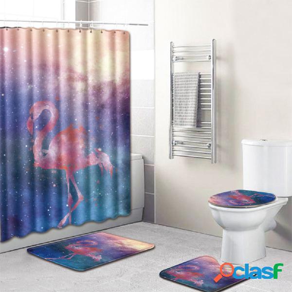 Rideau de douche en polyester imprimé antidérapant pour tapis de salle de bains
