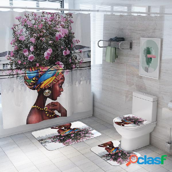 3 pcs tapis de salle de bains rideau de douche ensemble imprime rideaux de polyester salle de bains with12 crochets