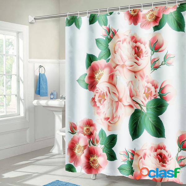 71''x71 '' rideau de douche en polyester imperméable avec motif de fleurs de pêcher de long
