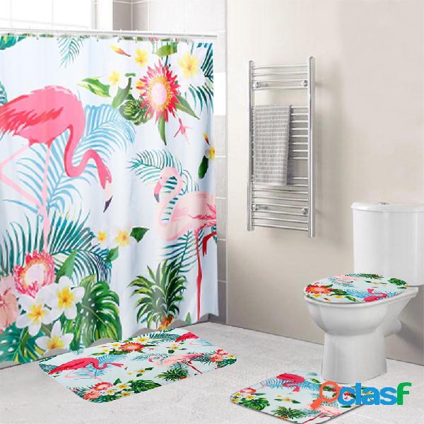Le rideau de douche de salle de bains de couverture de toilette de 3 pcs tapisse le tissu de polyester