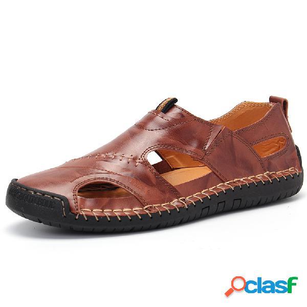 Grande taille hommes classic couture à la main en plein air confortable soft sandales en cuir