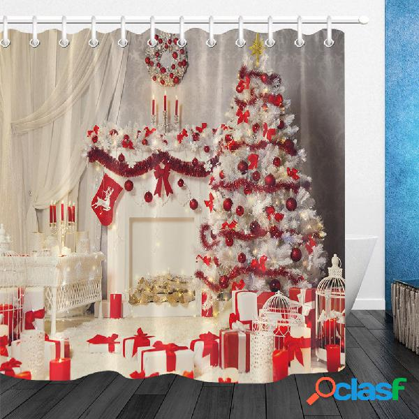180x180cm rideau en sapin de noël rouge décoratif imperméable à l'eau rideau de douche rideau floormat