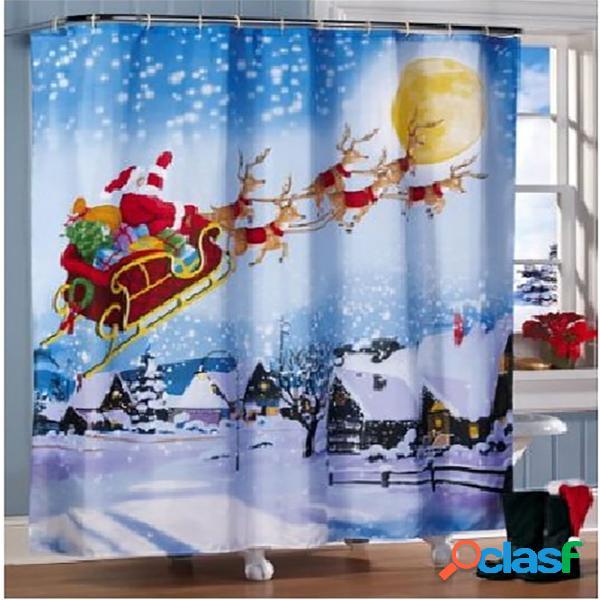 Rideau de douche d'impression de traîneau de noël d'impression de 180 * de 180cm rideau imperméable de décoration de salle de bains