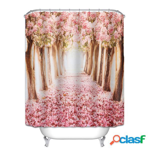 """150 * 180cm / 59 * 71 """"fleur rose romantique sakura blossom tissu imperméable rideau de douche en tissu"""