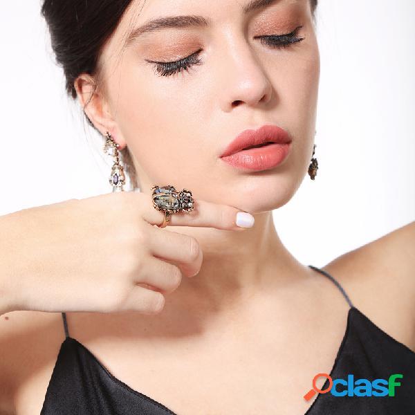 Bague femme rétro coccinelle colorful bague en strass bague anneaux en métal bronzer