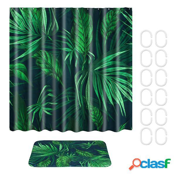 Tissu imperméable de rideau de douche de plantes tropicales avec le tapis de tapis de salle de bains de polyester d'anneau de crochets