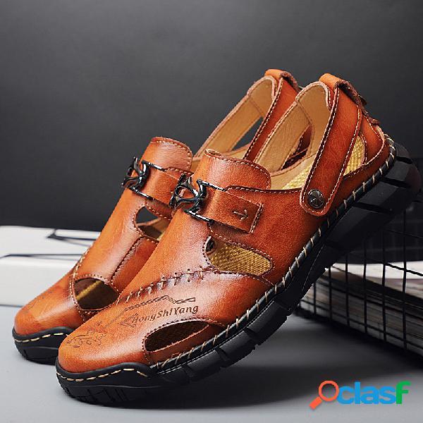 Hommes classic confort de couture à la main outdoor sandales antidérapantes en cuir soft trous