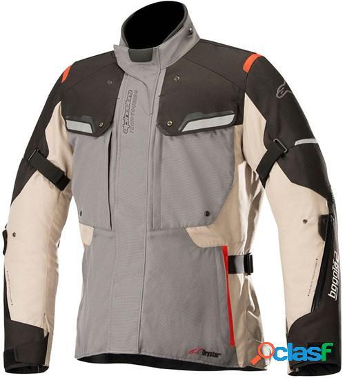 Alpinestars bogota v2 drystar jacket, veste moto textile hommes, gris-sable-noir