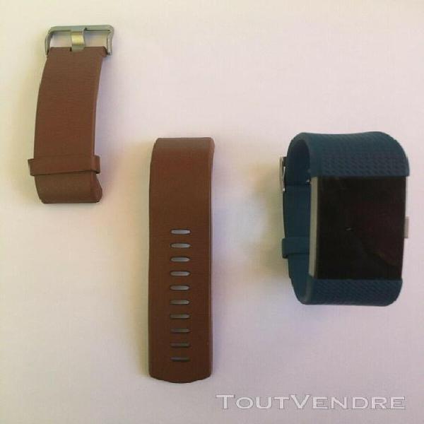 Fitbit charge 2 montre connectée+ bracelet bleu + un cuir