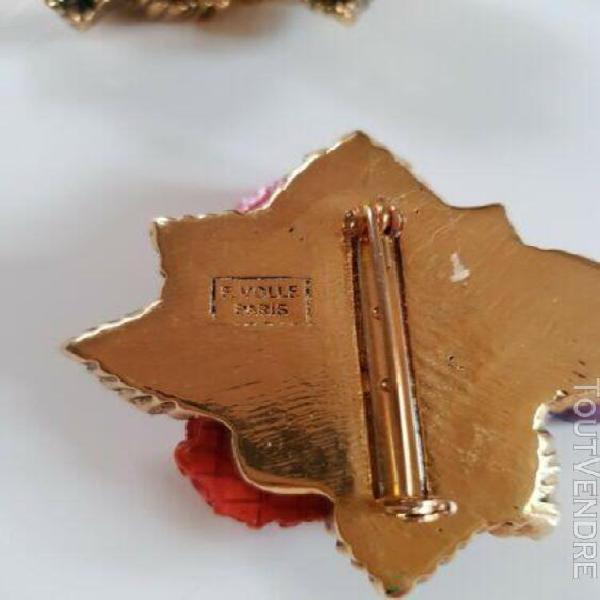 Parure bijoux fantaisie - f. volle - broche et clips - fête