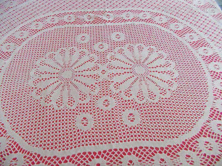 Grande nappe ancienne au crochet coton blanc (fait main)/lin