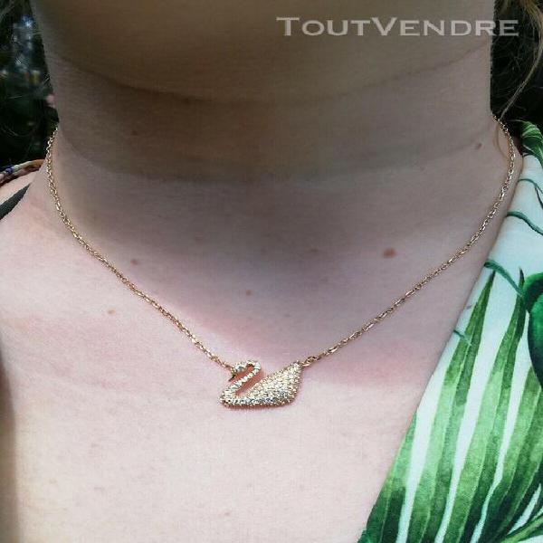 Swarovski cygne plaque or cristaux collier ras de cou 45 cm