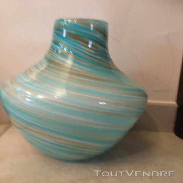 Vase en verre coloré tons turquoise/marron 22cm de hauteur