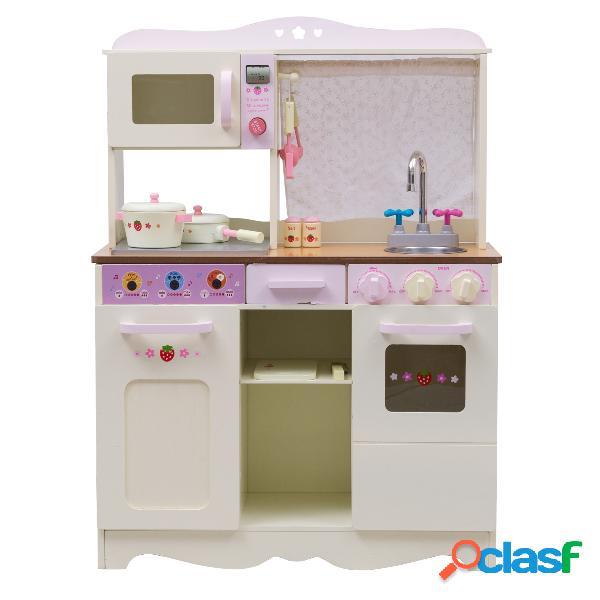 Cuisine pour enfant en bois cuisine de jouets cuisine de jeux cuisine éducatif jeux de rôle blanc laiteux