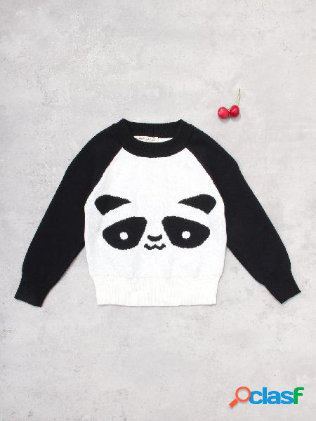 Animal pattern contrast color matching sweatshirts in black and white