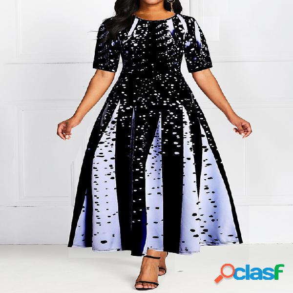 Robe maxi plissée à manches courtes imprimée robe de soirée femme