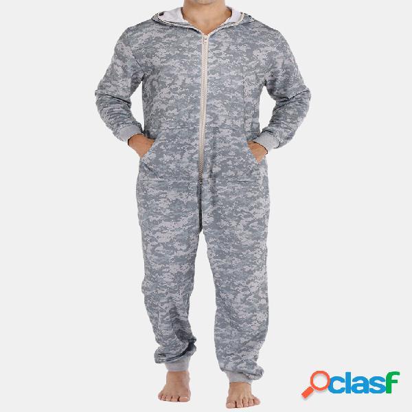 Hommes gris camo loungewear combinaison épaissir thermique lâche zip down hooded home pyjamas avec poches