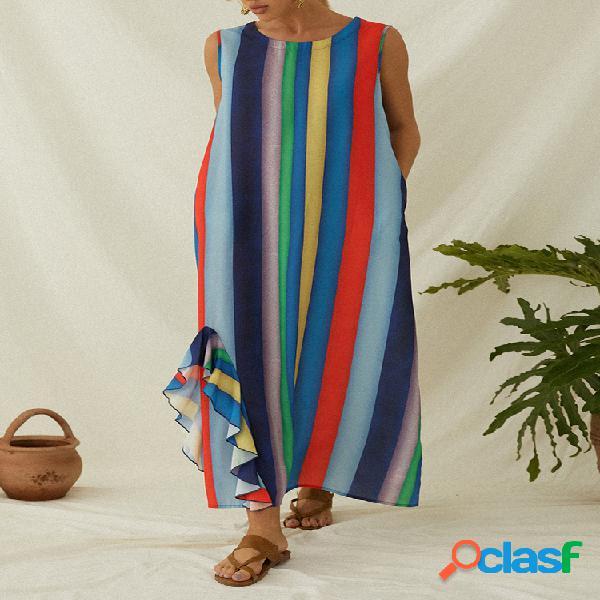 Robe maxi ample sans manches à rayures multicolores pour femme